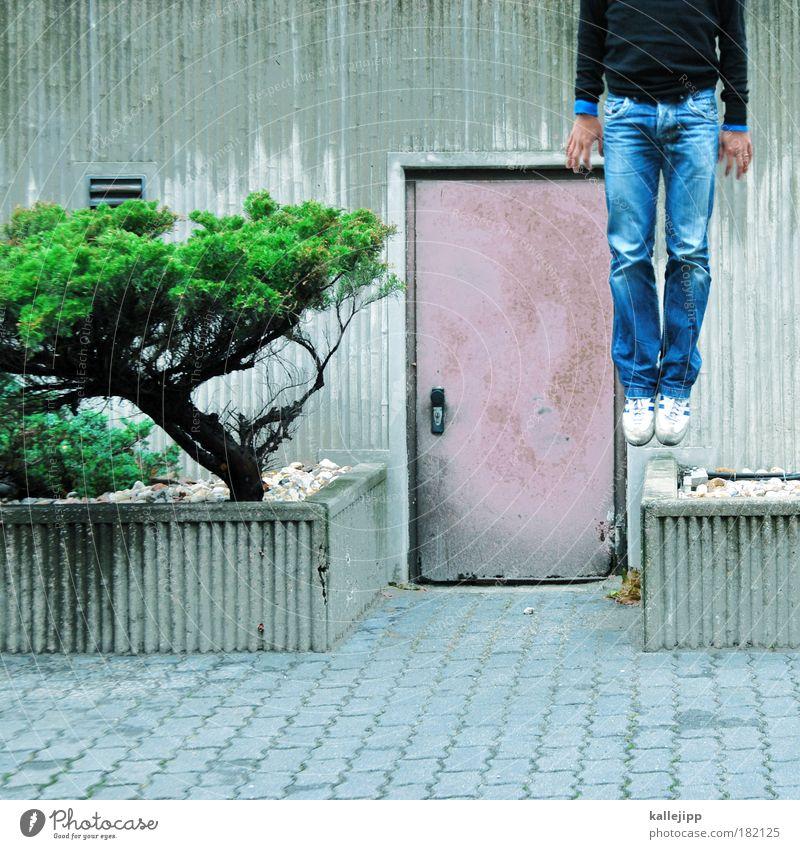 i´m leaving planet earth Mensch Mann Hand Baum Erwachsene springen Beine Fuß Tür fliegen Beton maskulin Klima mehrfarbig Erfolg Schuhe