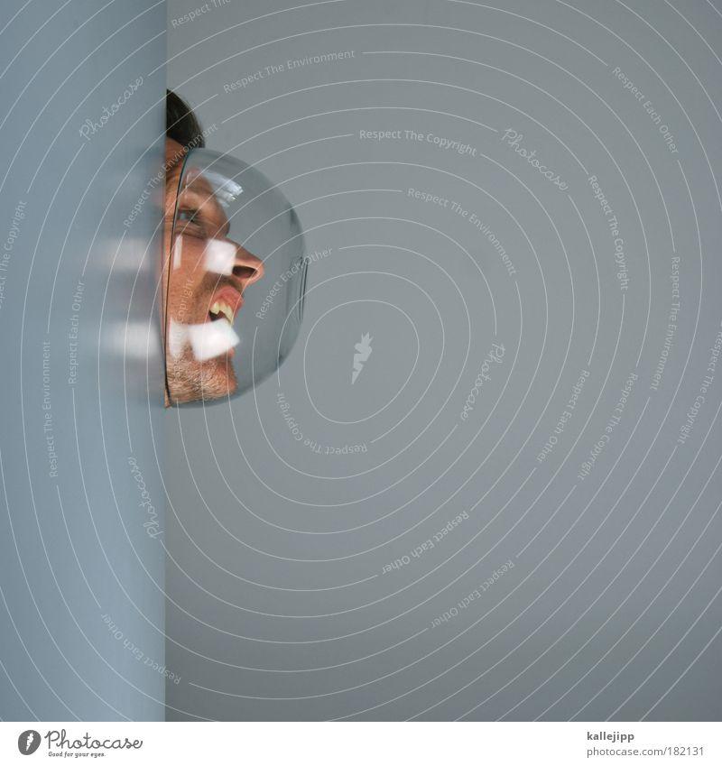 in space Farbfoto Innenaufnahme Studioaufnahme Textfreiraum rechts Textfreiraum unten Kunstlicht Porträt Profil Schalen & Schüsseln Mensch Mann Erwachsene Haut