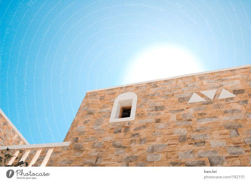 Die Sonne ist rund Himmel weiß blau Freude Ferien & Urlaub & Reisen Haus Ferne Wand Fenster Glück Stein Wohnung Fassade Europa Fröhlichkeit