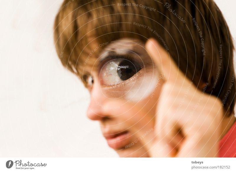 Mr. Glubschi ist misstrauisch Bildung Schüler Hochschullehrer Auge beobachten achtsam Wachsamkeit gewissenhaft Überraschung Misstrauen Blick Suche untersuchen