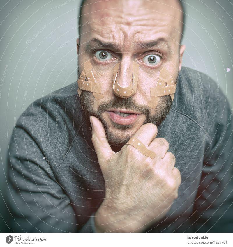 AUA!!! Mensch maskulin Mann Erwachsene 1 30-45 Jahre Pullover schwarzhaarig kurzhaarig Bart Dreitagebart Vollbart beobachten außergewöhnlich Sauberkeit