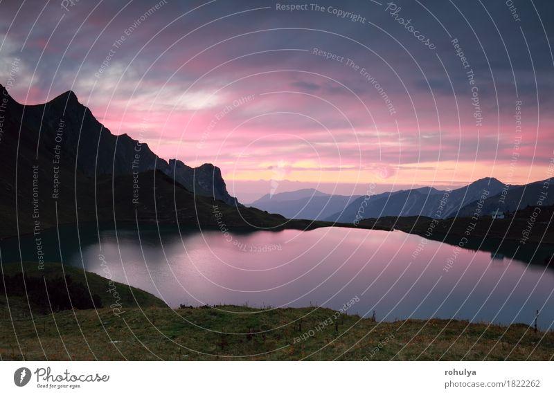 dramatischer Sonnenuntergang über Alpensee Schrecksee, Deutschland Ferien & Urlaub & Reisen Berge u. Gebirge Natur Landschaft Himmel Felsen See dunkel rosa rot