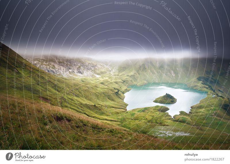 Schrecksee See bei bewölktem Abend Berge u. Gebirge Natur Landschaft Himmel Wolken Herbst Wetter Nebel Wiese Hügel Alpen Ferien & Urlaub & Reisen träumen