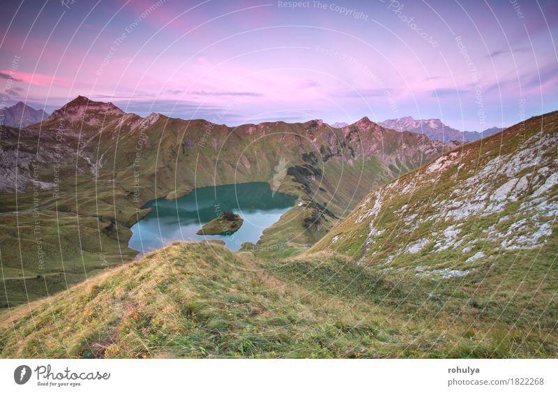 Alpensee Schtecksee bei Sonnenaufgang, Blick vom Berggipfel Ferien & Urlaub & Reisen Berge u. Gebirge Klettern Bergsteigen Natur Landschaft Himmel Herbst Wiese