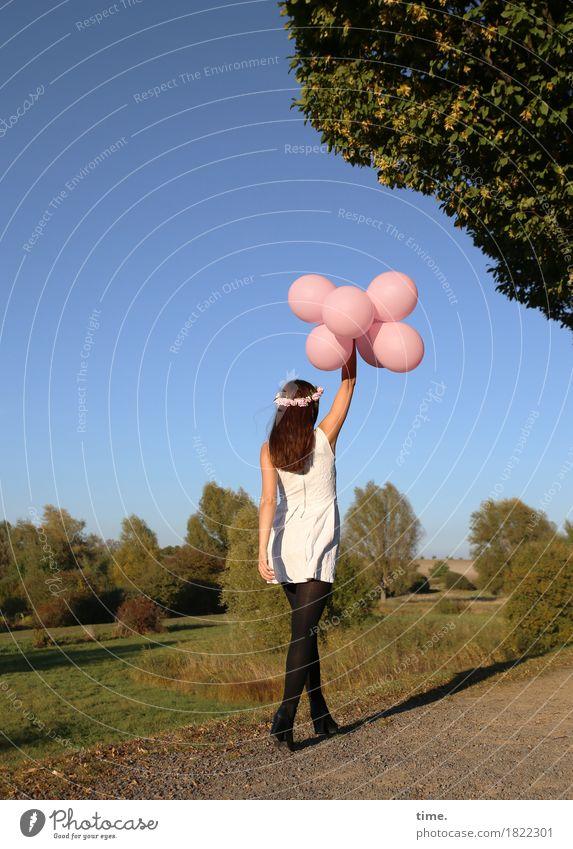 . Mensch Frau Himmel Pflanze schön Baum Erwachsene Leben Herbst Wege & Pfade Bewegung feminin Zeit gehen Park Zufriedenheit