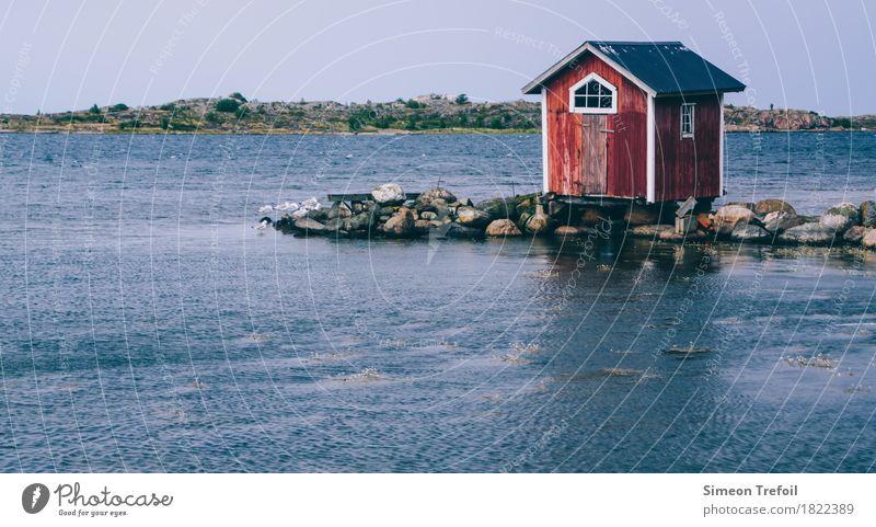 Bootshaus Angeln Abenteuer Sommer Meer Landschaft Küste Bucht Ostsee Hütte fangen Ferien & Urlaub & Reisen alt einfach natürlich retro Optimismus Schutz ruhig
