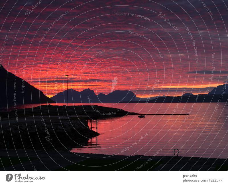 dem himmel nah Natur Landschaft Urelemente Wasser Himmel Wolken Herbst Winter Nordlicht Berge u. Gebirge Fjord außergewöhnlich fantastisch maritim oben Wärme
