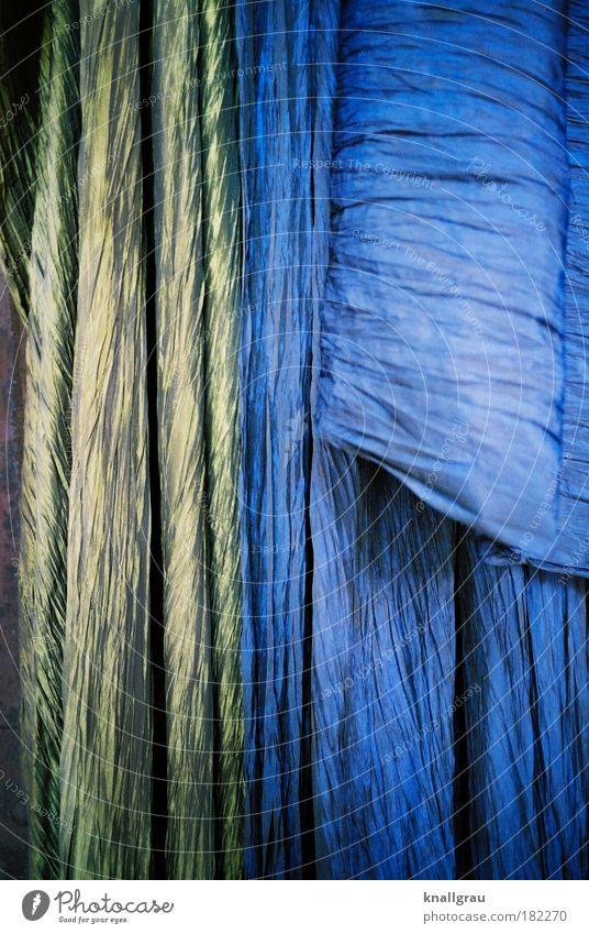 Auf Tuchfühlung Hintergrundbild Stoff blau gold Seide Muster Strukturen & Formen Vorhang Mode Bekleidung Nähen Berufsausbildung Innenarchitektur bügeln ausgehen