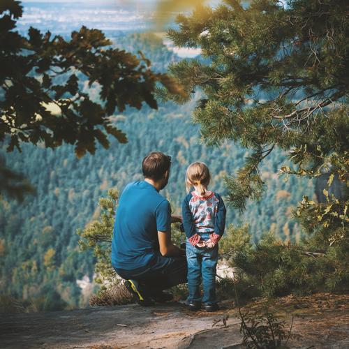 weitblick Freude Glück Freizeit & Hobby Kinderspiel Mensch feminin Eltern wandern Aussicht lernen Leben 3-8 Jahre Kindheit Kindheitserinnerung 18-30 Jahre