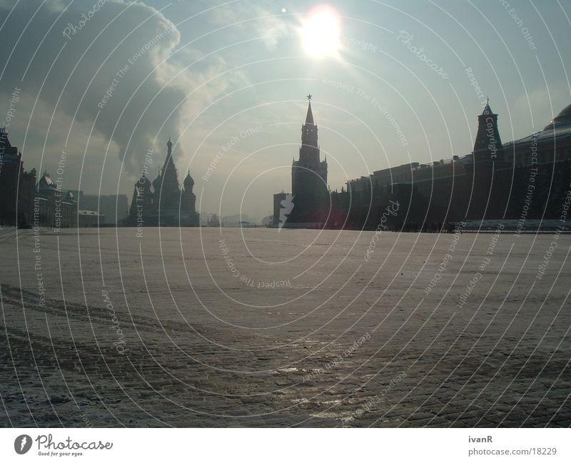 guten morgen moskau Moskau Roter Platz Morgen Wolken Europa Morgendämmerung Rauch