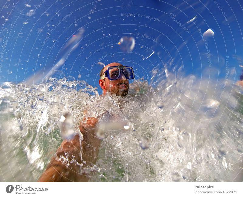 bbbwwlupp 2 Ferien & Urlaub & Reisen Abenteuer Sommer Sommerurlaub Meer Wellen Sport Wassersport Schwimmen & Baden tauchen Mensch maskulin Mann Erwachsene Kopf