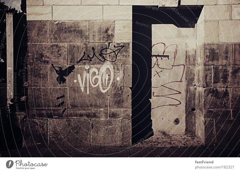 Das Auge sieht, was es sucht alt Wand Graffiti Stein Mauer braun Tür dreckig außergewöhnlich bedrohlich Zeichen Dresden Gewalt Tunnel chaotisch Bahnhof