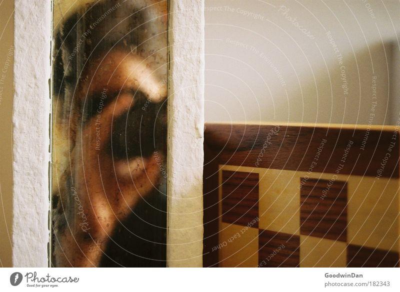 Matt Mensch 1 Spiegel eckig einfach Farbfoto Innenaufnahme Schatten Kontrast Reflexion & Spiegelung Spiegelbild Fotografie Fotografieren Fotokamera