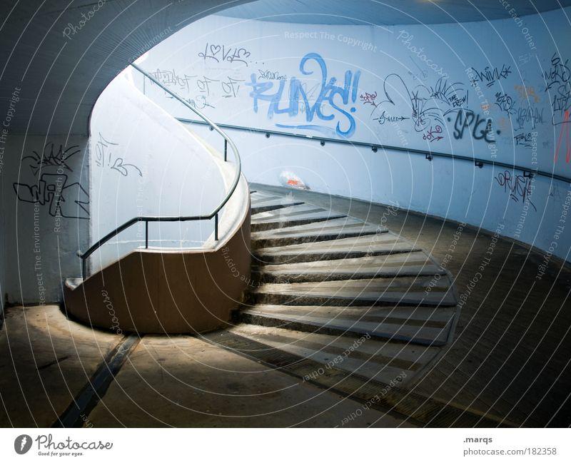 Barrierefrei Farbfoto Menschenleer Lichterscheinung Stil Architektur Mauer Wand Treppe Wege & Pfade Schriftzeichen Graffiti laufen dunkel elegant einzigartig