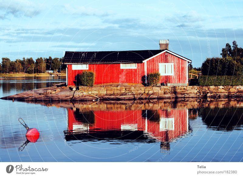 Vänernsee Wasser Himmel Baum Sonne Sommer ruhig Wolken Einsamkeit Haus See Skandinavien Romantik Europa Hütte Seeufer Schönes Wetter
