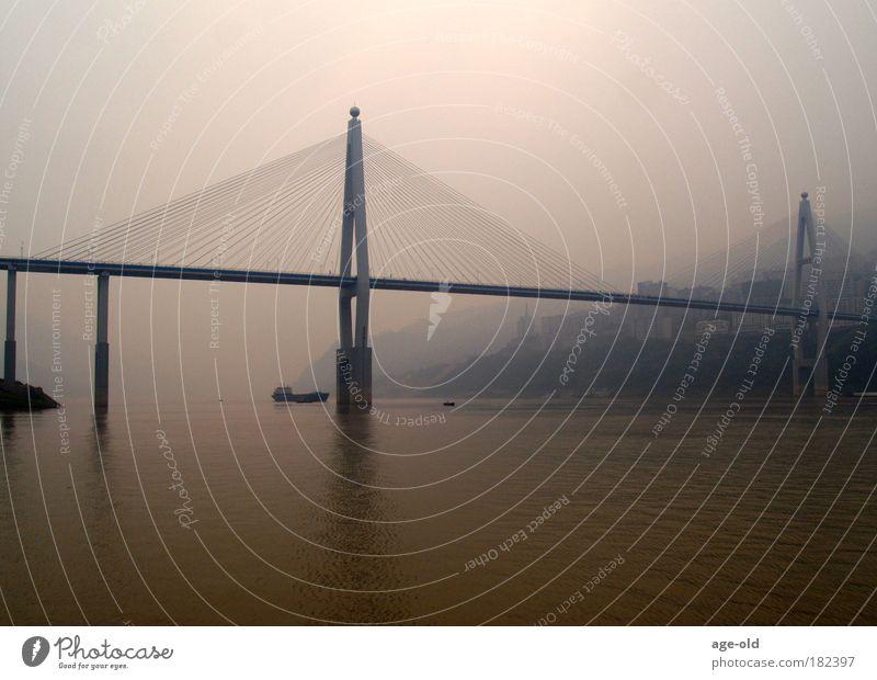 Brücke am Changjiang Himmel Natur Wasser Stadt Landschaft Ferne Umwelt Architektur Freiheit Wasserfahrzeug Stimmung Klima Nebel Tourismus Urelemente