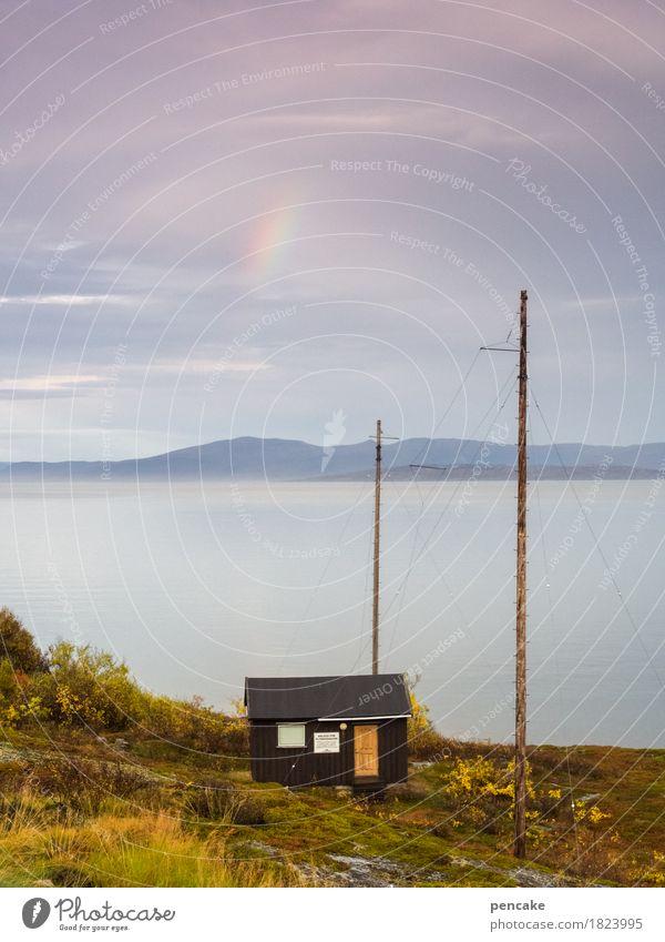 unscheinbares detail | am himmel Natur Landschaft Urelemente Wasser Himmel Herbst Wetter Fjord Horizont Idylle Ferien & Urlaub & Reisen Norwegen Regenbogen