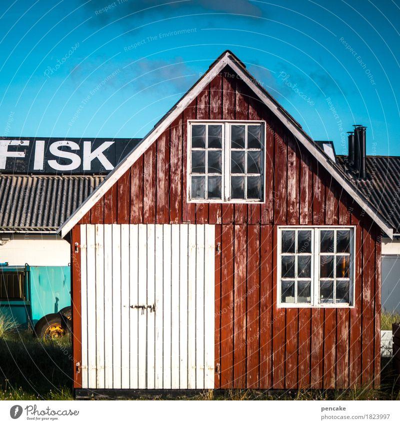 eßt meer fisch Himmel rot Autofenster Herbst Küste Lebensmittel frisch Schriftzeichen authentisch Schönes Wetter Fisch Buchstaben lecker Hafen Werbung Rauch