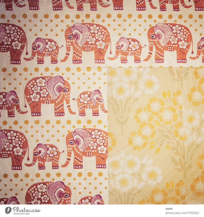 Elefantenwiese alt Wand Kindheit Design Muster Dekoration & Verzierung retro Vergangenheit Textfreiraum Raum Tapete Reihe Erinnerung Elefant altmodisch Kinderzimmer