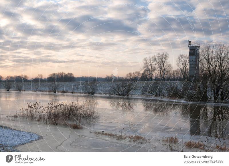 DDR Grenzturm in Mecklenburg im Winter Leben Zeit Freiheit Deutschland Wandel & Veränderung Turm Bauwerk Sehenswürdigkeit Wahrzeichen Denkmal Mut Grenze