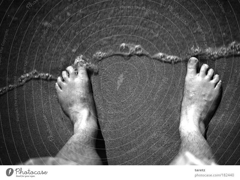 Wogende Wellen rauschen heran Mensch Natur Wasser Meer Strand kalt Küste grau Sand Fuß nass stehen verloren untergehen Selbstportrait
