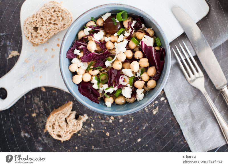 Kichererbsensalat Gesunde Ernährung Foodfotografie Gesundheit Lebensmittel frisch genießen Gemüse Bioprodukte Brot Schalen & Schüsseln Messer