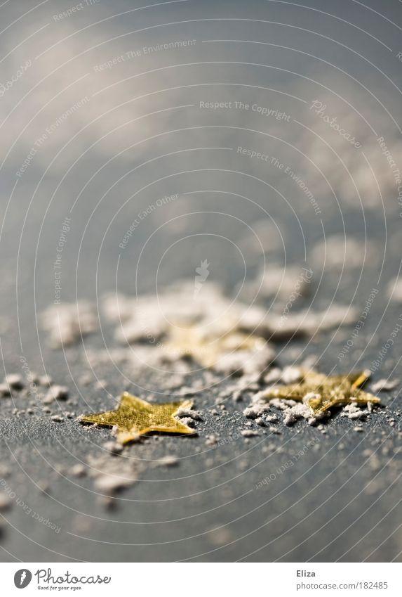 Puderzuckersterne Gedeckte Farben Innenaufnahme Detailaufnahme Makroaufnahme Vorfreude Gold Dekoration & Verzierung Schnee weiß Winter kühlen Stern
