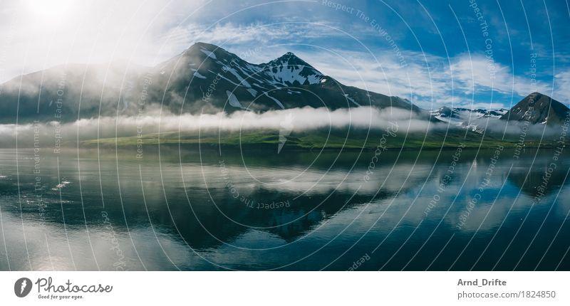 Siglufjörður - Island Himmel Ferien & Urlaub & Reisen Wasser Sonne Landschaft Wolken Ferne Berge u. Gebirge Umwelt Küste Freiheit Felsen Tourismus Nebel Wellen