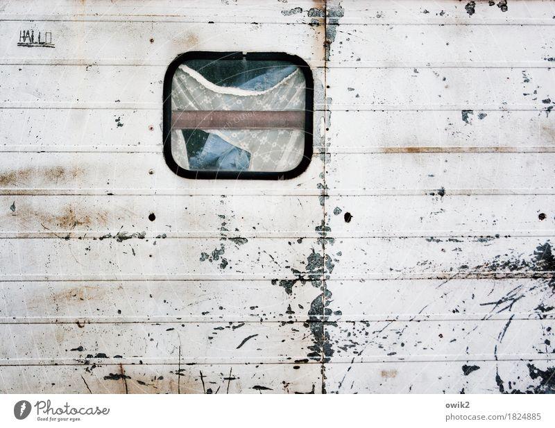 Loft Wohncontainer Mauer Wand Fassade Fenster Gardine Container Blech Metall Schriftzeichen alt trashig trist Verfall Vergänglichkeit Zerstörung Kratzer