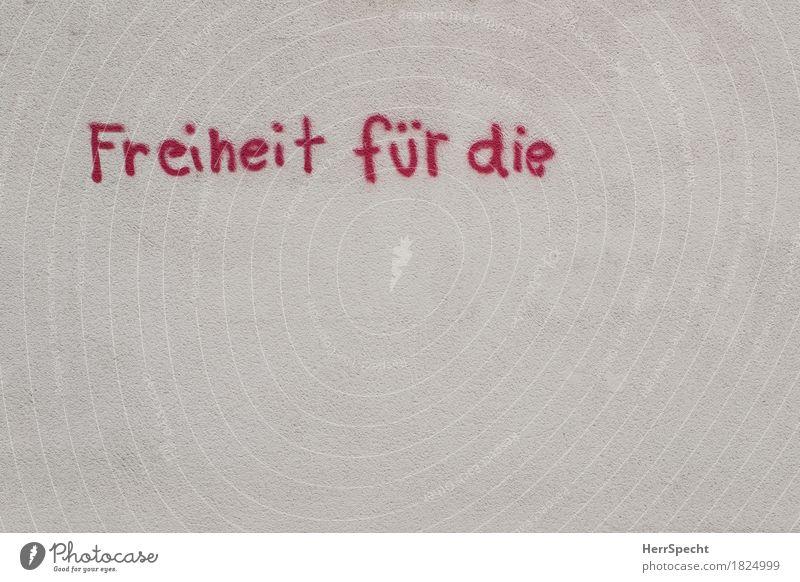 Work in Progress Stadt Haus Gebäude Mauer Wand Fassade Schriftzeichen Graffiti rot Freiheit Text Textfreiraum Buchstaben unvollendet Rätsel fordern Pause