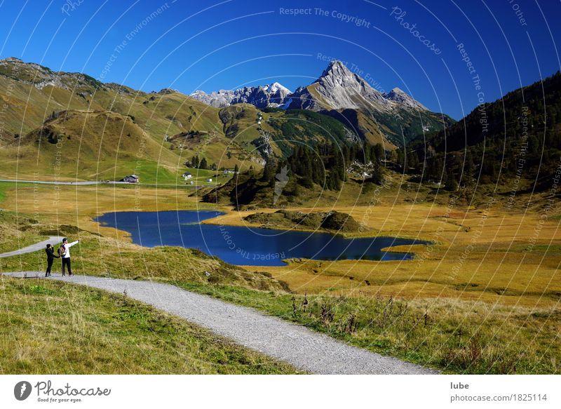 Herbststimmung 2 Ferien & Urlaub & Reisen Tourismus Berge u. Gebirge wandern Umwelt Natur Landschaft Wolkenloser Himmel Hügel Felsen Alpen Gipfel Wege & Pfade