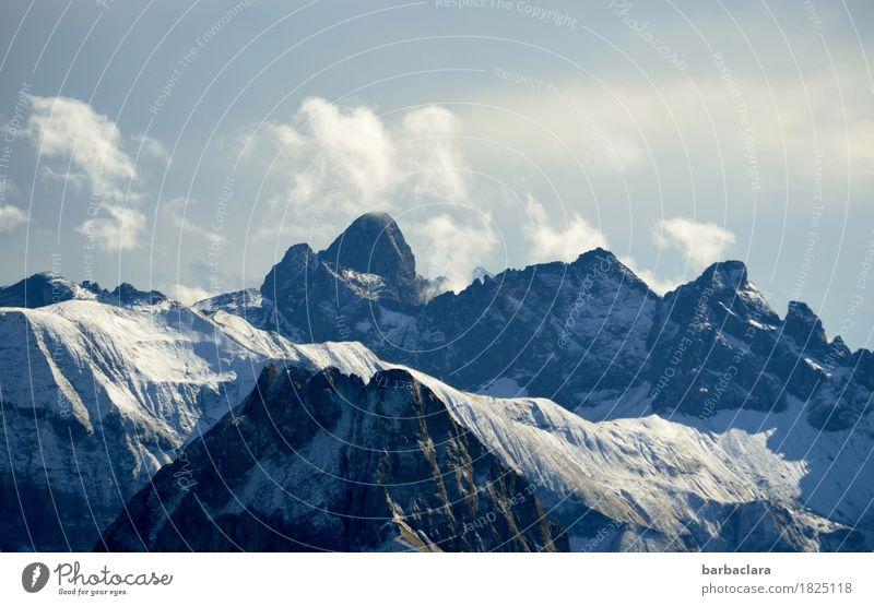 Oktobermorgen auf dem Nebelhorn Himmel Natur Ferien & Urlaub & Reisen blau Landschaft Wolken Ferne Berge u. Gebirge Umwelt kalt Herbst Schnee Freiheit Luft Erde hoch