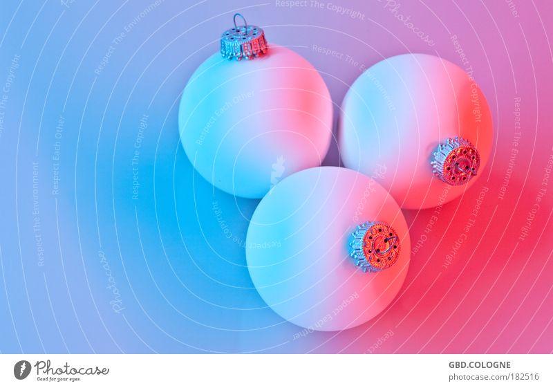 Krissmäss blau Weihnachten & Advent rot Innenarchitektur Stil Design Dekoration & Verzierung Glas verrückt rund Kugel Christbaumkugel zerbrechlich Weihnachtsdekoration matt Baumschmuck
