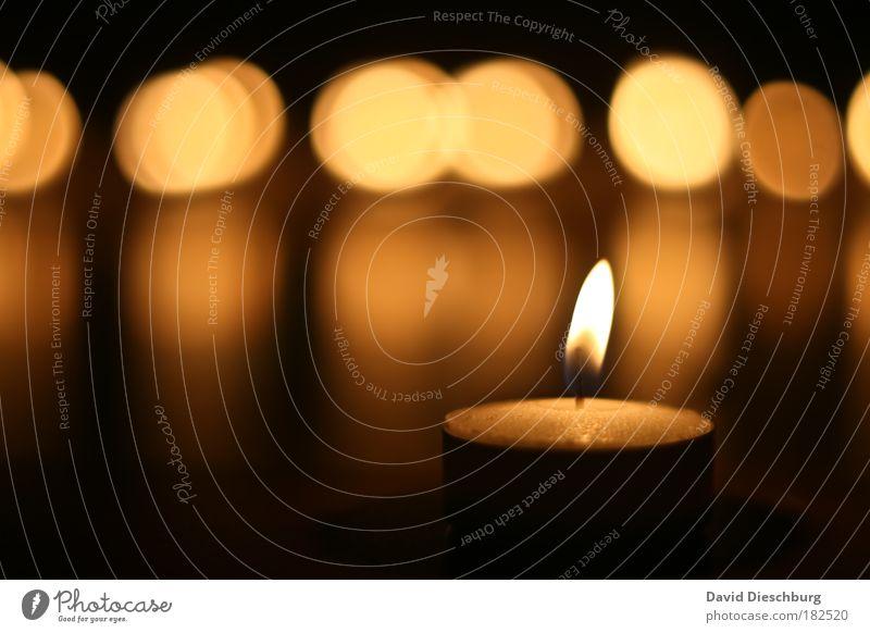 Moment des Lichtes Weihnachten & Advent schön ruhig schwarz gelb braun Kreis Kerze Licht brennen gemütlich Flamme harmonisch Kontrast Reflexion & Spiegelung Wachs