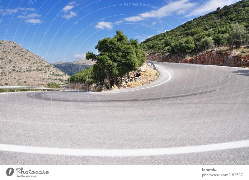 Haarnadelkurve Natur Himmel grün blau Sommer Ferien & Urlaub & Reisen Wolken Ferne Straße Berge u. Gebirge Landschaft Umwelt Felsen Griechenland Tourismus