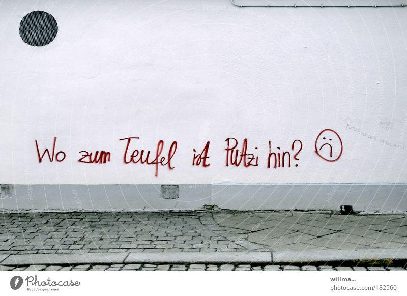 sehr weit kann sie nicht sein Mauer Wand Fassade Schriftzeichen Graffiti Reinigen Sauberkeit Irritation Schreibschrift Handschrift handschriftlich Text Smiley