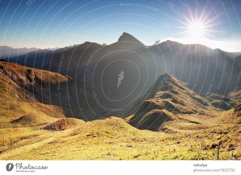 Morgen Sonnenschein über Gebirgszug, Alpen, Österreich Ferien & Urlaub & Reisen Berge u. Gebirge Natur Landschaft Himmel Herbst Nebel Wiese Hügel Felsen blau