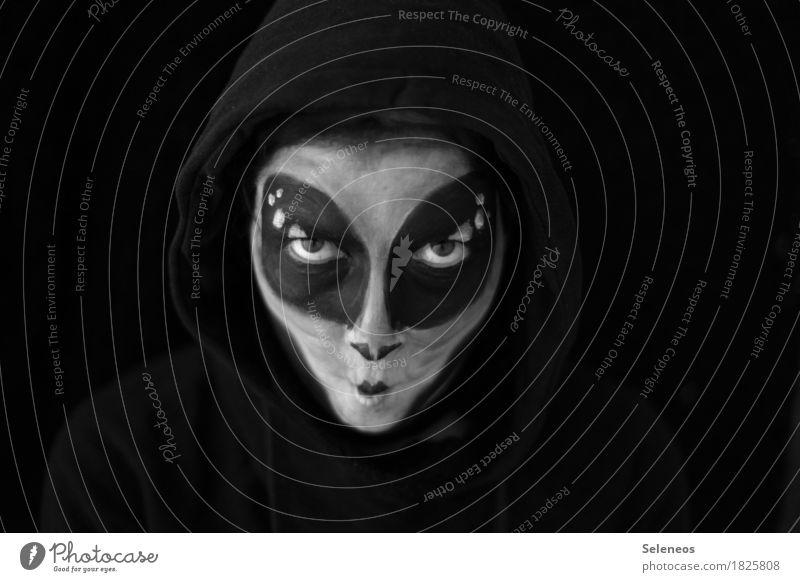 grusel Karneval Halloween Mensch Gesicht Auge 1 Kapuzenpullover gruselig Angst Feindseligkeit bizarr Endzeitstimmung bedrohlich Kreativität Weltall