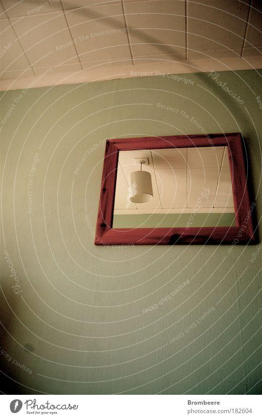 Spiegel schön weiß grün Lampe grau Stimmung braun Wohnung ästhetisch retro authentisch Dekoration & Verzierung einzigartig Sehnsucht Innenarchitektur