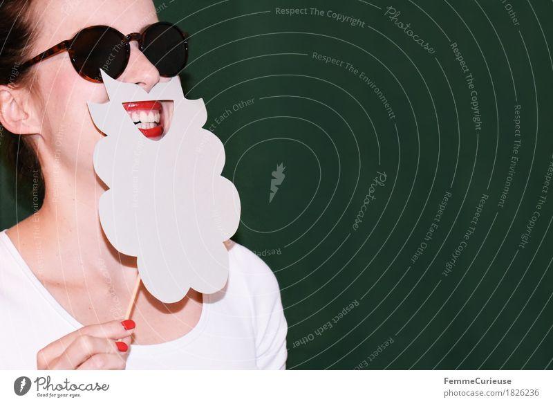 Rauschebart_1826236 Mensch Frau Jugendliche Weihnachten & Advent Junge Frau Hand rot Freude 18-30 Jahre Gesicht Erwachsene lustig feminin grau Party maskulin