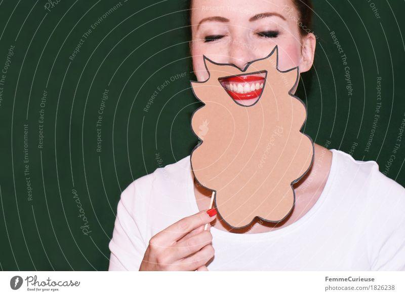 Rauschebart_1826238 Mensch Frau Jugendliche Mann Junge Frau weiß rot 18-30 Jahre Erwachsene lustig Lifestyle feminin Stil Party maskulin Lächeln