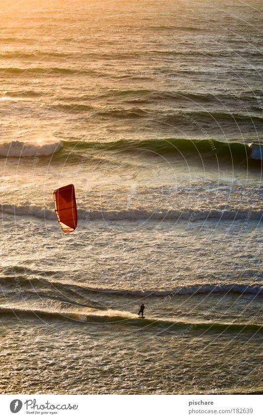 sunset-surf Meer Sommer Ferien & Urlaub & Reisen Sport Wärme Wellen Wind Sonnenuntergang Surfen Segel Lenkdrachen Portugal Kiting Spielzeug