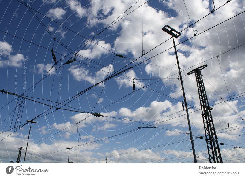 Äther Wasser Himmel weiß blau Sommer schwarz Wolken Luft Metall Energie Europa Energiewirtschaft Elektrizität Netzwerk Technik & Technologie Kommunizieren