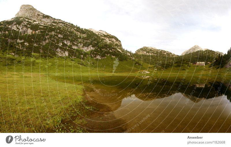 Funtensee und Viehkogel nahe Berchtesgaden Farbfoto mehrfarbig Außenaufnahme Menschenleer Textfreiraum oben Tag Licht Kontrast Silhouette Reflexion & Spiegelung