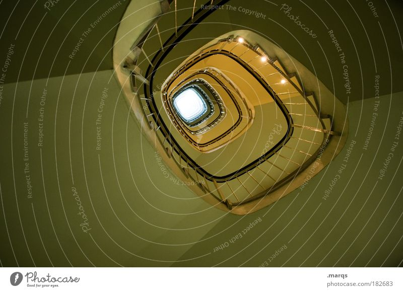 Goldener Schnitt Gedeckte Farben Innenaufnahme Menschenleer Froschperspektive Stil Design Gebäude Treppe gehen laufen außergewöhnlich dunkel elegant Sauberkeit