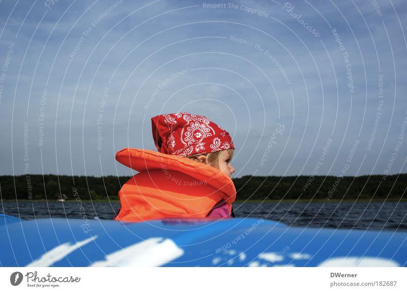 Rettungsschwimmer Mensch Himmel blau Wasser Ferien & Urlaub & Reisen Mädchen Sommer See Freizeit & Hobby Ausflug Tourismus Sicherheit Kleinkind Seeufer
