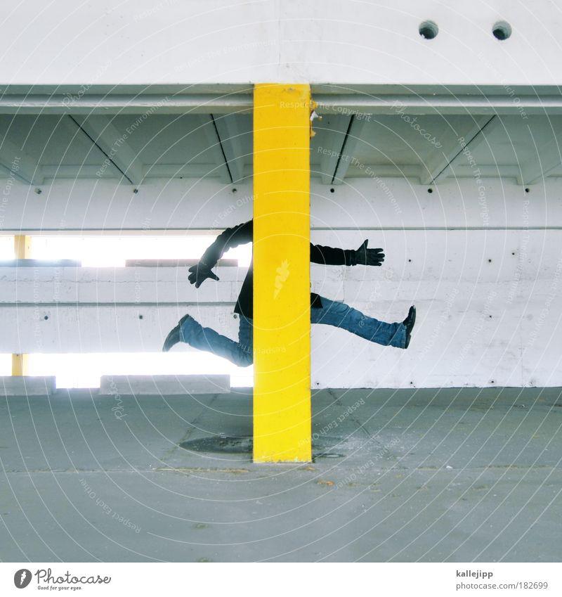 schwarz gelb Mensch Mann Hand Erwachsene gelb Fenster Wand Schutz Architektur grau Mauer springen Stil Beine Fuß Arme