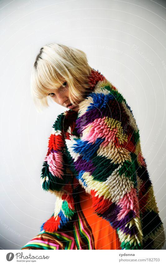 Multicolored Frau Mensch Jugendliche schön Erwachsene Farbe Leben Freiheit Stil träumen Mode Kraft elegant Design modern Lifestyle