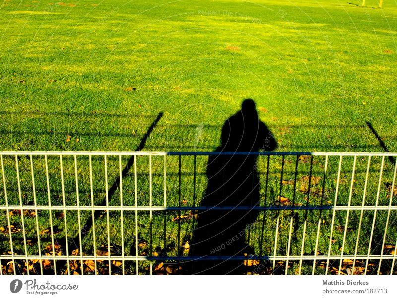 Schatten Mensch Mann Sonne Wiese Rasen Sportrasen Zaun Publikum Fotograf Selbstportrait Fußballplatz Verzerrung