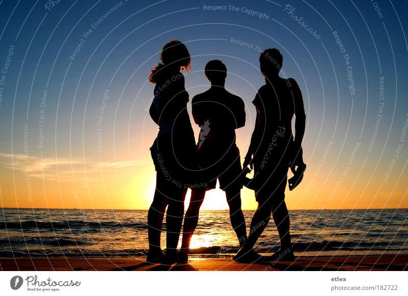 In the shadows Mensch Jugendliche Wasser Himmel Sonne Meer Sommer Strand Ferien & Urlaub & Reisen Ferne Erholung Freiheit Denken Freundschaft warten